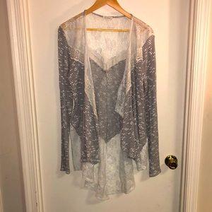 🌎 Blu Planet Asymmetrical Lace knit Cardigan
